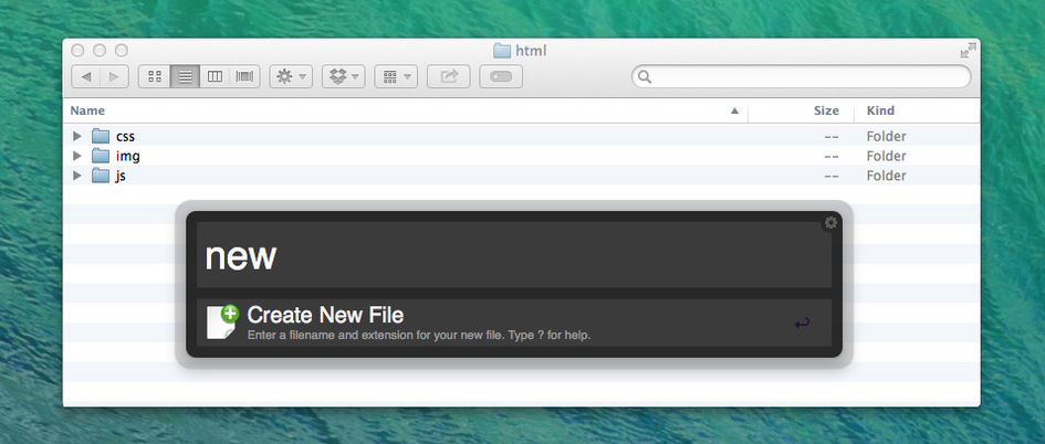 Creating a new file in Mac OS Finder using Alfred App.